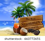 wooden board on tropical... | Shutterstock .eps vector #663772651