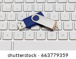 Usb Pen Drive Arranged On Whit...