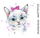 cute cat. kitten watercolor... | Shutterstock . vector #663779725
