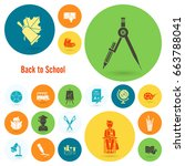 school and education icon set.... | Shutterstock .eps vector #663788041