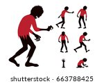 silhouette zombie with red... | Shutterstock .eps vector #663788425