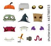 Halloween Objects Cartoon...