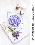 ingredients for lavender spa on ... | Shutterstock . vector #663792514