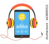 smartphone with music player... | Shutterstock .eps vector #663800521