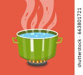 boiling water in pan. cooking... | Shutterstock .eps vector #663801721