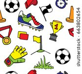 sports pattern with soccer... | Shutterstock .eps vector #663802654
