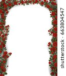floral arch of roses. detailed... | Shutterstock .eps vector #663804547