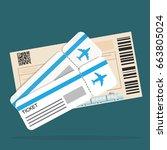 airplane ticket train ticket | Shutterstock .eps vector #663805024
