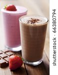 strawberry and chocolate milk shake - stock photo