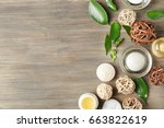 spa composition with tea tree... | Shutterstock . vector #663822619