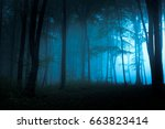 Spooky Blue Foggy Forest