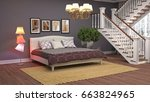 bedroom interior. 3d... | Shutterstock . vector #663824965