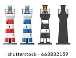 blue and red striped lighthouse ... | Shutterstock .eps vector #663832159