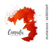 illustration of happy canada... | Shutterstock .eps vector #663832669