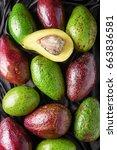 colorful fresh ripe avocado...   Shutterstock . vector #663836581