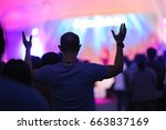 christian music concert with... | Shutterstock . vector #663837169