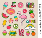 set of fashion patches  fun... | Shutterstock .eps vector #663839524