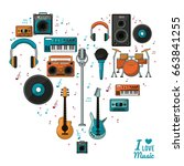 poster i love music with... | Shutterstock .eps vector #663841255