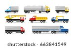 flat truck icon set. side view... | Shutterstock . vector #663841549