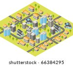 isometric city with downtown... | Shutterstock .eps vector #66384295