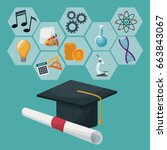 graduation cap and certificate... | Shutterstock .eps vector #663843067