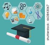 graduation cap and certificate...   Shutterstock .eps vector #663843067