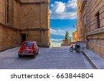 pienza  tuscany   june 02  2017 ... | Shutterstock . vector #663844804