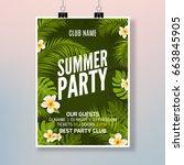 summer party poster flyer... | Shutterstock .eps vector #663845905