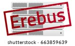 server rack. red message erebus.... | Shutterstock .eps vector #663859639