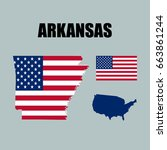 arkansas map with usa flag | Shutterstock .eps vector #663861244