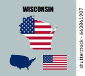 wisconsin map with usa flag   Shutterstock .eps vector #663861907