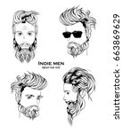 indie men hipster hair style... | Shutterstock .eps vector #663869629