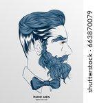 indie men hipster hair style... | Shutterstock .eps vector #663870079