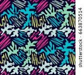 graffiti bright psychedelic... | Shutterstock .eps vector #663870514