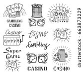 set of casino and gambling... | Shutterstock .eps vector #663873229