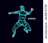 leadership concept. jumping man.... | Shutterstock .eps vector #663876739