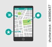 vector illustration of a mobile ... | Shutterstock .eps vector #663880657