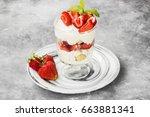 dessert tiramisu with... | Shutterstock . vector #663881341
