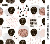 seamless pattern with hand... | Shutterstock .eps vector #663881581