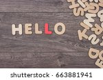 Word Hello Made With Wooden...
