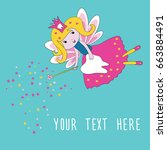 tooth fairy with magic wand and ... | Shutterstock .eps vector #663884491