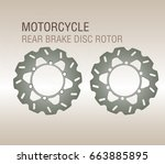 motorcycle rear brake disc...   Shutterstock .eps vector #663885895