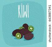 group of several ripe kiwi...   Shutterstock .eps vector #663887341