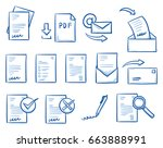 set with different office paper ... | Shutterstock .eps vector #663888991