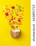 colorful explosion of candies... | Shutterstock . vector #663891715