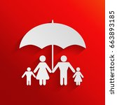 family under umbrella   family... | Shutterstock . vector #663893185