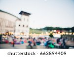 blur people picnic in a public... | Shutterstock . vector #663894409