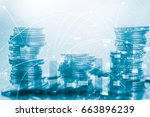 double exposure rows of coins... | Shutterstock . vector #663896239