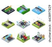 isometric urban infrastructure... | Shutterstock .eps vector #663897829