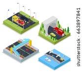 isometric urban infrastructure... | Shutterstock .eps vector #663897841
